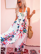 Print A-line U-Neck Sleeveless Midi Casual Vacation Skater Dresses