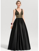 V-neck Floor-Length Satin Prom Dresses With Beading Sequins