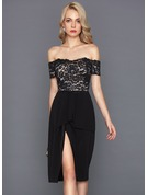 Sheath/Column Off-the-Shoulder Knee-Length Stretch Crepe Cocktail Dress With Cascading Ruffles