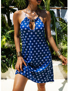 Print Shift Halter Sleeveless Midi Casual Dresses