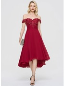A-Line Off-the-Shoulder Asymmetrical Chiffon Homecoming Dress With Ruffle Sequins