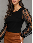 Long Sleeves Polyester Round Neck Sheer Blouses Blouses