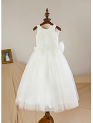 A-Line/Princess Tea-length Flower Girl Dress - Satin Tulle Sleeveless Scoop Neck With Bow(s)