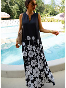 Floral Print Shift V-Neck Sleeveless Maxi Casual Vacation Tank Dresses