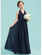 Halter Floor-Length Chiffon Junior Bridesmaid Dress