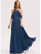 Square Neckline Floor-Length Chiffon Bridesmaid Dress