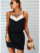 Color Block Sheath Spaghetti Straps Sleeveless Midi Casual Type Dresses
