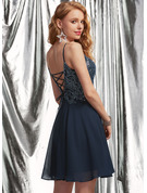 A-Line V-neck Short/Mini Chiffon Homecoming Dress With Lace Sequins