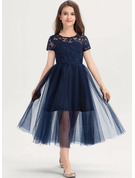A-Line Scoop Neck Tea-Length Tulle Lace Junior Bridesmaid Dress