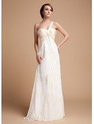 Empire One-Shoulder Floor-Length Chiffon Holiday Dress With Ruffle Lace Beading