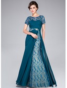 A-Line/Princess Scoop Neck Sweep Train Chiffon Mother of the Bride Dress With Ruffle Beading Sequins
