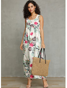 Polyester/Linen With Print Maxi Dress
