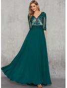 A-Line V-neck Floor-Length Chiffon Lace Evening Dress With Sequins