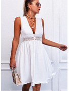 Lace Solid Hollow-out A-line V-Neck Sleeveless Midi Casual Skater Dresses