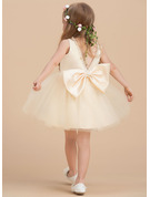 Knee-length Flower Girl Dress - Satin Tulle Sleeveless Scoop Neck With Beading