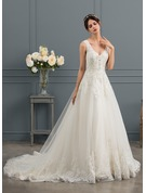 Ball-Gown V-neck Chapel Train Tulle Wedding Dress With Sequins