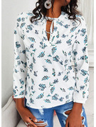 Regular Cotton Blends V-Neck Floral Print Fitted Blouses