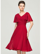 V-neck Knee-Length Chiffon Cocktail Dress