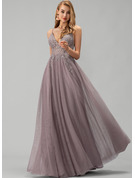 A-Line V-neck Floor-Length Tulle Prom Dresses With Lace Beading Sequins Split Front