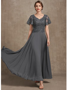 A-Line V-neck Ankle-Length Chiffon Lace Evening Dress With Sequins