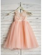 Tea-length Flower Girl Dress - Tulle Sleeveless Scoop Neck