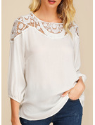 3/4 Sleeves Cotton Round Neck Blouses