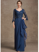 A-Line V-neck Floor-Length Chiffon Lace Evening Dress With Sequins Cascading Ruffles