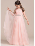 A-Line/Princess Floor-length Flower Girl Dress - Tulle Sleeveless V-neck With Ruffles Beading Sequins