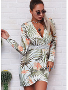 Floral Print Bodycon V-Neck Long Sleeves Midi Casual Dresses