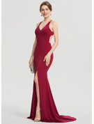 Trumpet/Mermaid V-neck Sweep Train Stretch Crepe Prom Dresses With Split Front