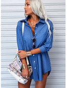 Solid Shift Shirt collar Long Sleeves Midi Denim Casual Shirt Dresses