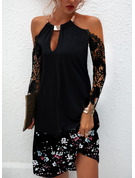 Floral Lace Print Shift Round Neck 1/2 Sleeves Midi Casual Vacation Dresses