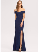Trumpet/Mermaid Off-the-Shoulder Floor-Length Stretch Crepe Bridesmaid Dress With Split Front