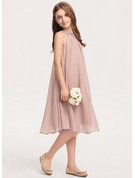 Scoop Neck Knee-Length Chiffon Junior Bridesmaid Dress With Beading Sequins