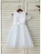 A-Line/Princess Tea-length Flower Girl Dress - Tulle Short Sleeves Scoop Neck With Sash