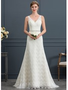 Trumpet/Mermaid V-neck Sweep Train Lace Wedding Dress With Sash