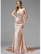 Trumpet/Mermaid Sweetheart Court Train Charmeuse Holiday Dress With Ruffle Beading