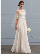 Scoop Neck Floor-Length Chiffon Wedding Dress With Beading Sequins Bow(s)