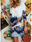 Print Shift V-Neck 3/4 Sleeves Midi Casual Tunic Dresses