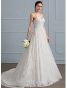 A-Line/Princess Sweetheart Sweep Train Lace Wedding Dress With Ruffle
