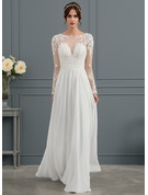 A-Line Illusion Floor-Length Chiffon Wedding Dress With Beading