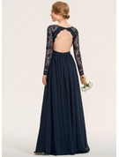 A-Line V-neck Floor-Length Chiffon Lace Prom Dresses