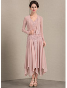 V-neck Ankle-Length Chiffon Mother of the Bride Dress