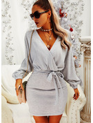 Solid Bodycon V-Neck Long Sleeves Midi Elegant Little Black Dresses