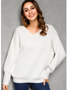 Pulls Tricot à Câble Gros tricot Couleur Unie Polyester Col V Pull-overs Pulls