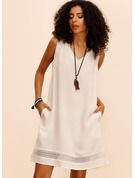 Cotton With Lace/Hollow/Solid Above Knee Dress
