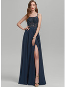 Square Neckline Floor-Length Chiffon Prom Dresses With Beading Sequins Split Front