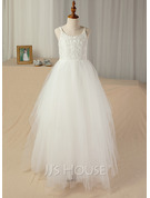 A-Line Scoop Neck Floor-Length Tulle Lace Junior Bridesmaid Dress With Lace