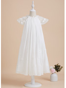 Tea-length Flower Girl Dress - Chiffon Short Sleeves Scoop Neck With Lace Beading Flower(s)