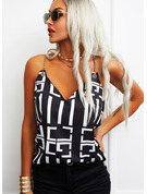 Regular Cotton Blends Spaghetti Straps Print Fitted Blouses